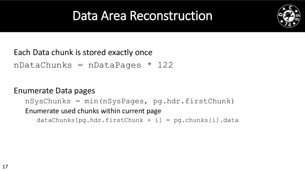 17 Data Area Reconstruction Each Data chunk is ...