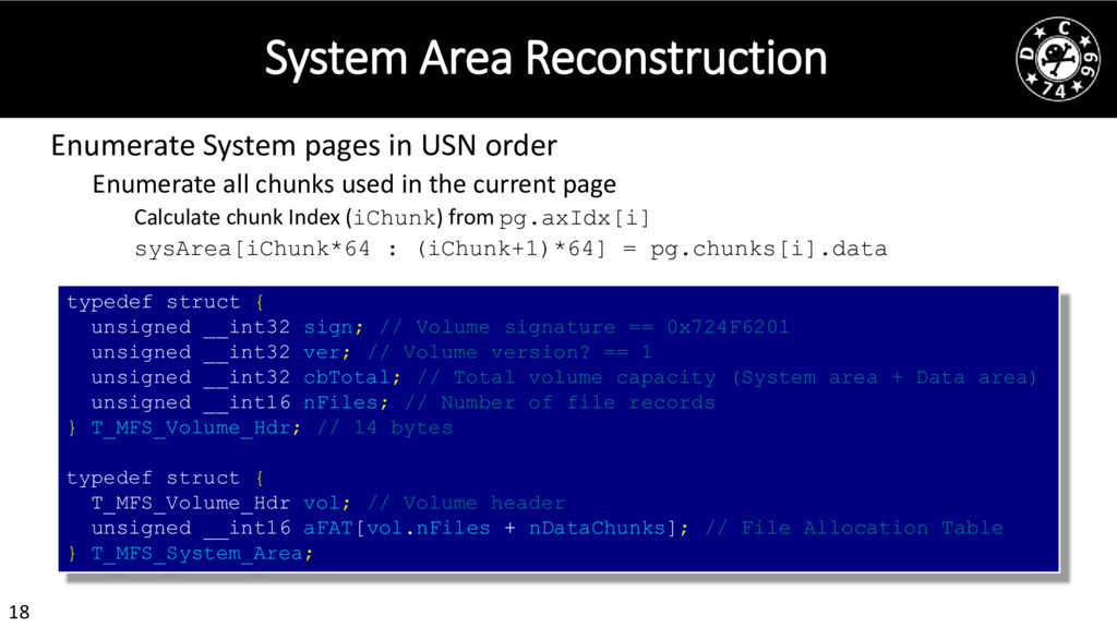 18 System Area Reconstruction Enumerate System ...