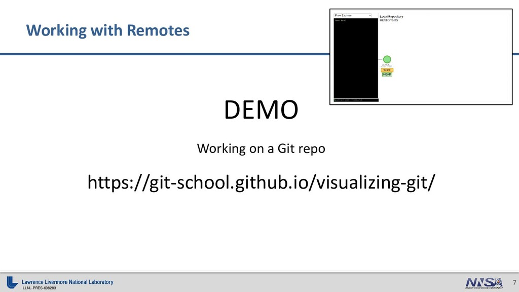 LLNL-PRES-698283 7 DEMO Working on a Git repo h...