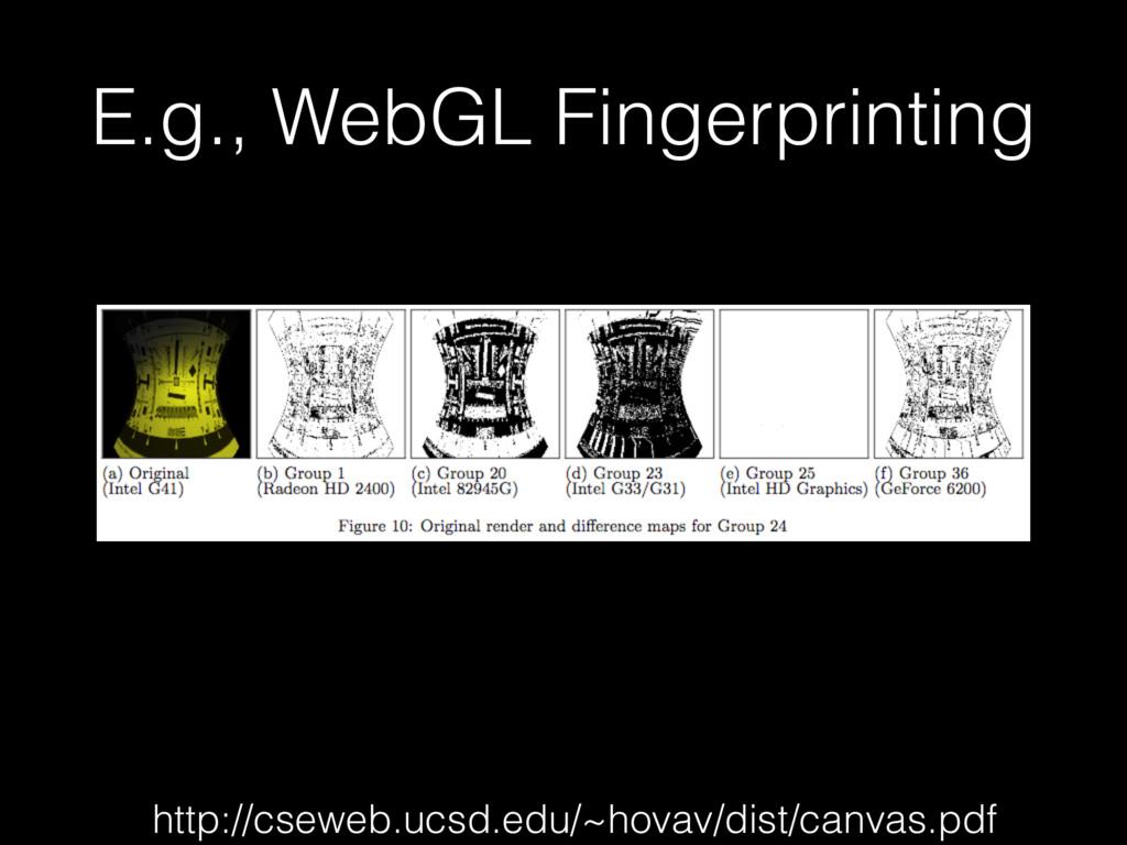 E.g., WebGL Fingerprinting http://cseweb.ucsd.e...