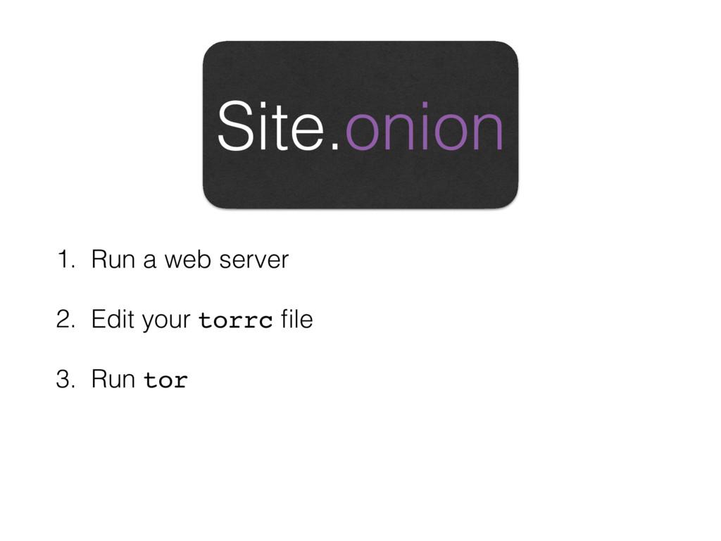 1. Run a web server 2. Edit your torrc file 3. R...