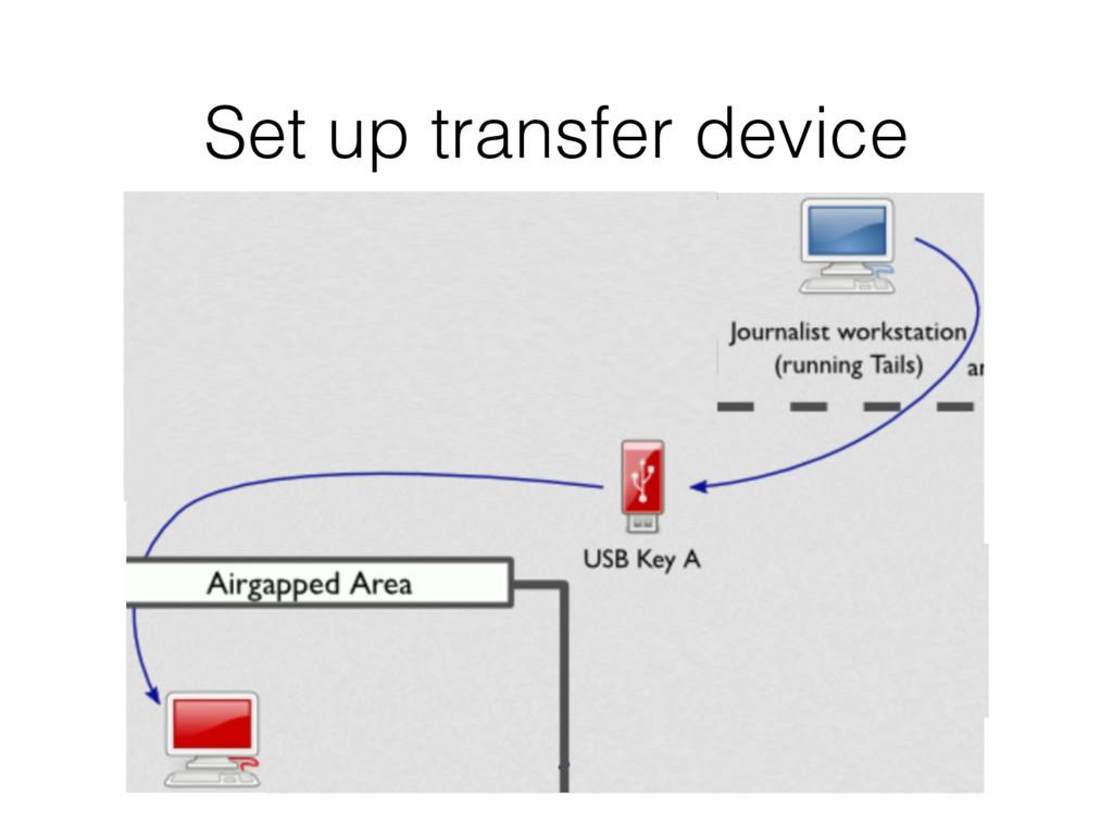 Set up transfer device