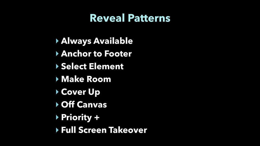 Reveal Patterns ‣ Always Available ‣ Anchor to ...