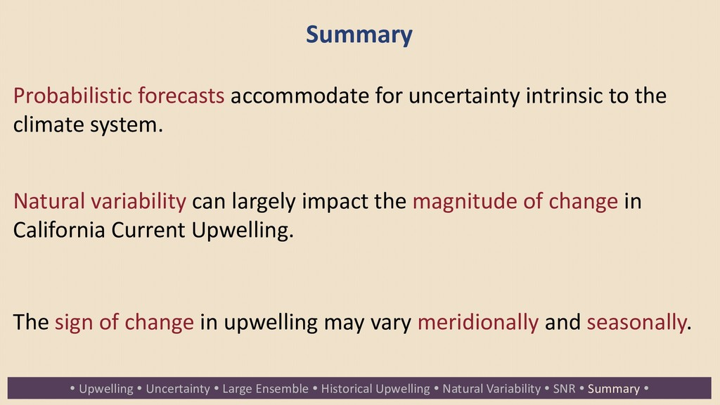 Summary Probabilistic forecasts accommodate for...