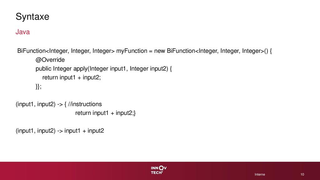 © 2020 CGI Inc. Interne Interne Syntaxe Java Bi...