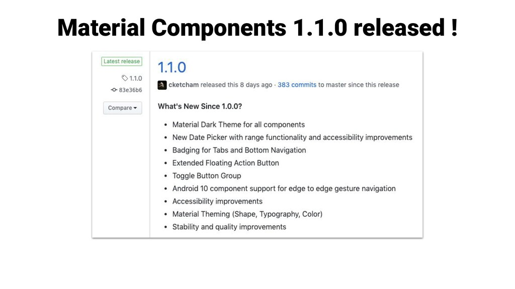 Material Components 1.1.0 released !