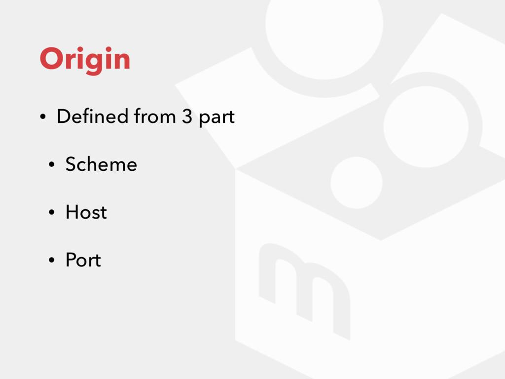 Origin • Defined from 3 part • Scheme • Host • P...
