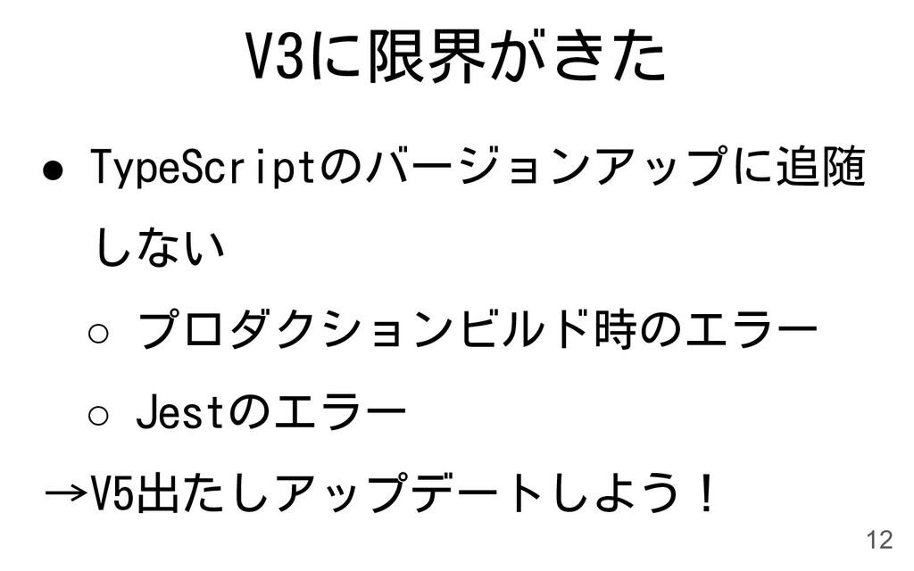 V3に限界がきた ● TypeScriptのバージョンアップに追随 しない ○ プロダクション...