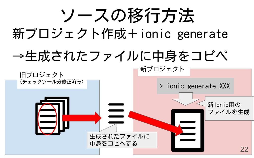 ソースの移行方法 旧プロジェクト (チェックツール分修正済み) > ionic generat...
