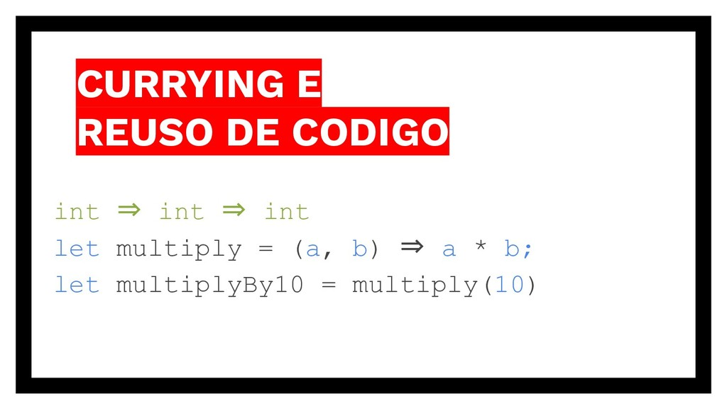 CURRYING E REUSO DE CODIGO int ⇒ int ⇒ int let ...