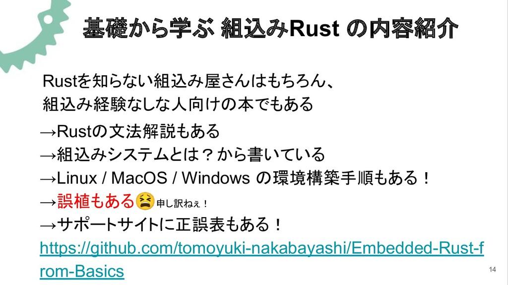 基礎から学ぶ 組込みRust の内容紹介 →Rustの文法解説もある →組込みシステムとは?か...