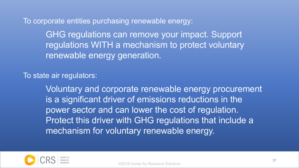 37 To corporate entities purchasing renewable e...