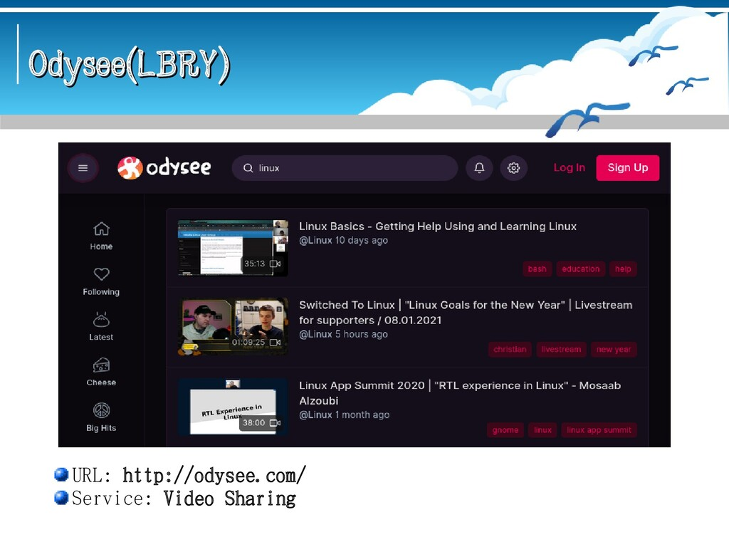 Odysee(LBRY) Odysee(LBRY) URL: http://odysee.co...