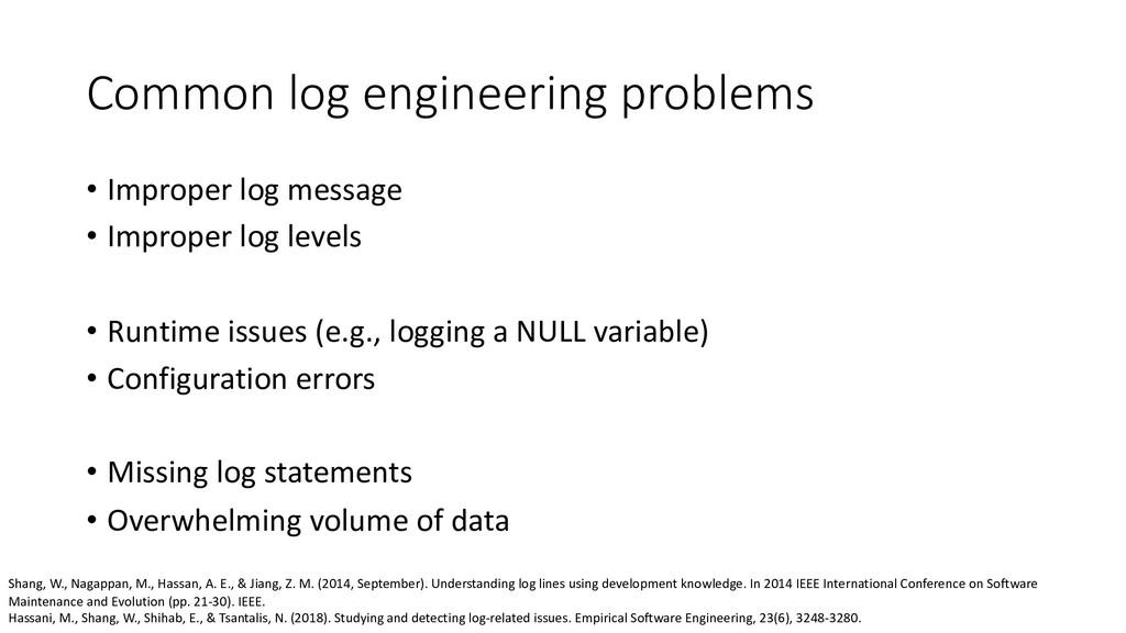 Common log engineering problems • Improper log ...