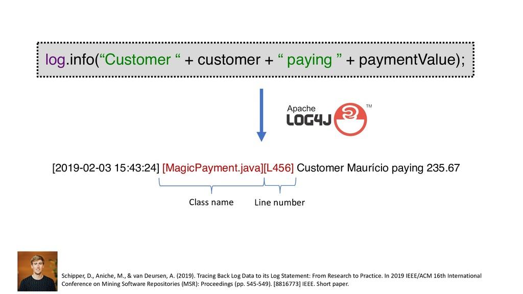 "log.info(""Customer "" + customer + "" paying "" + ..."