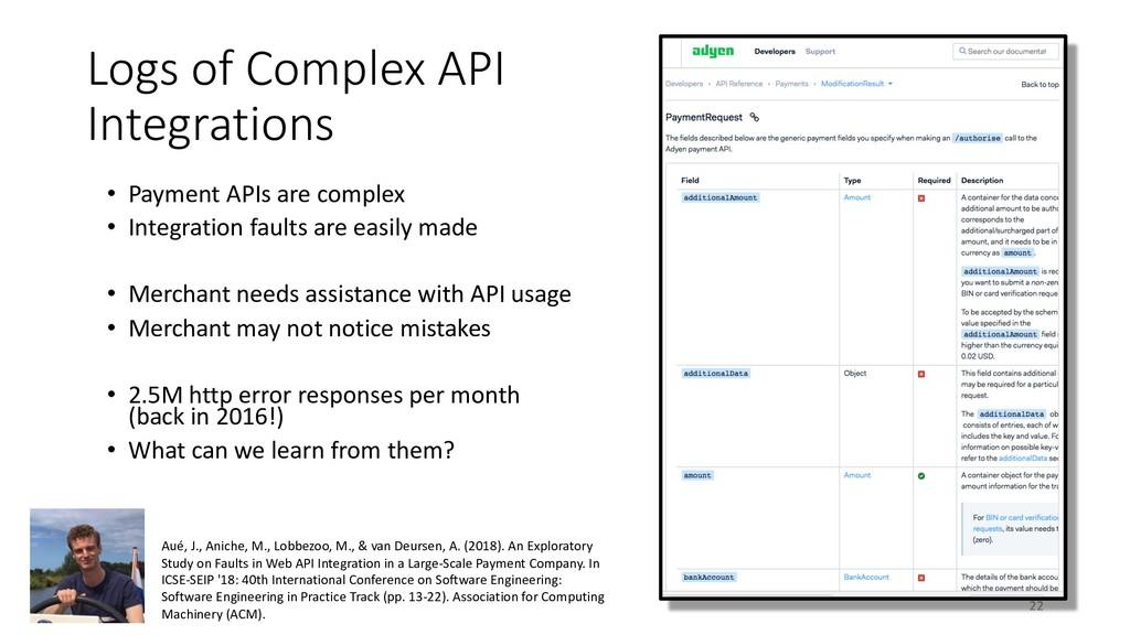 Logs of Complex API Integrations • Payment APIs...