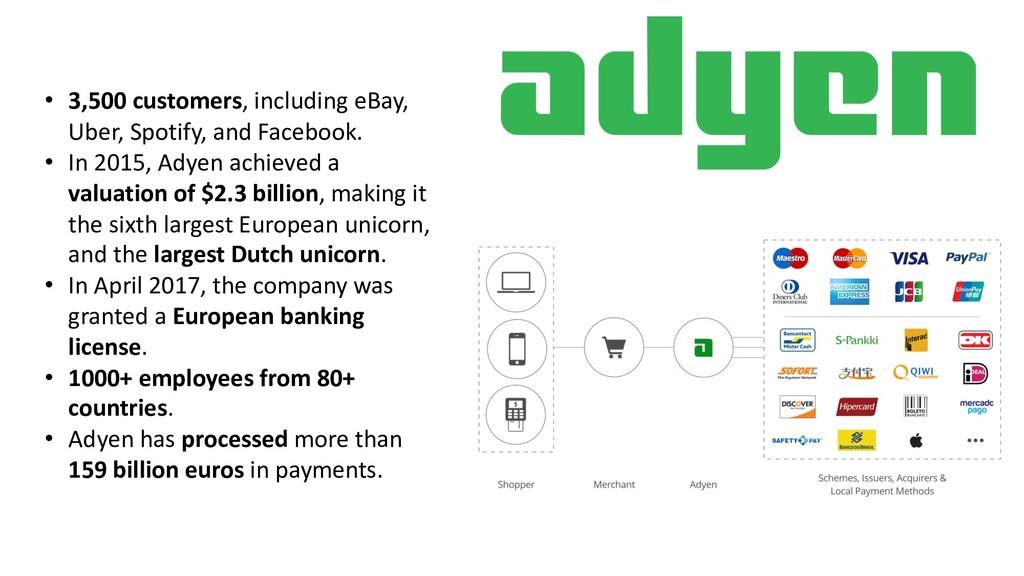 • 3,500 customers, including eBay, Uber, Spotif...