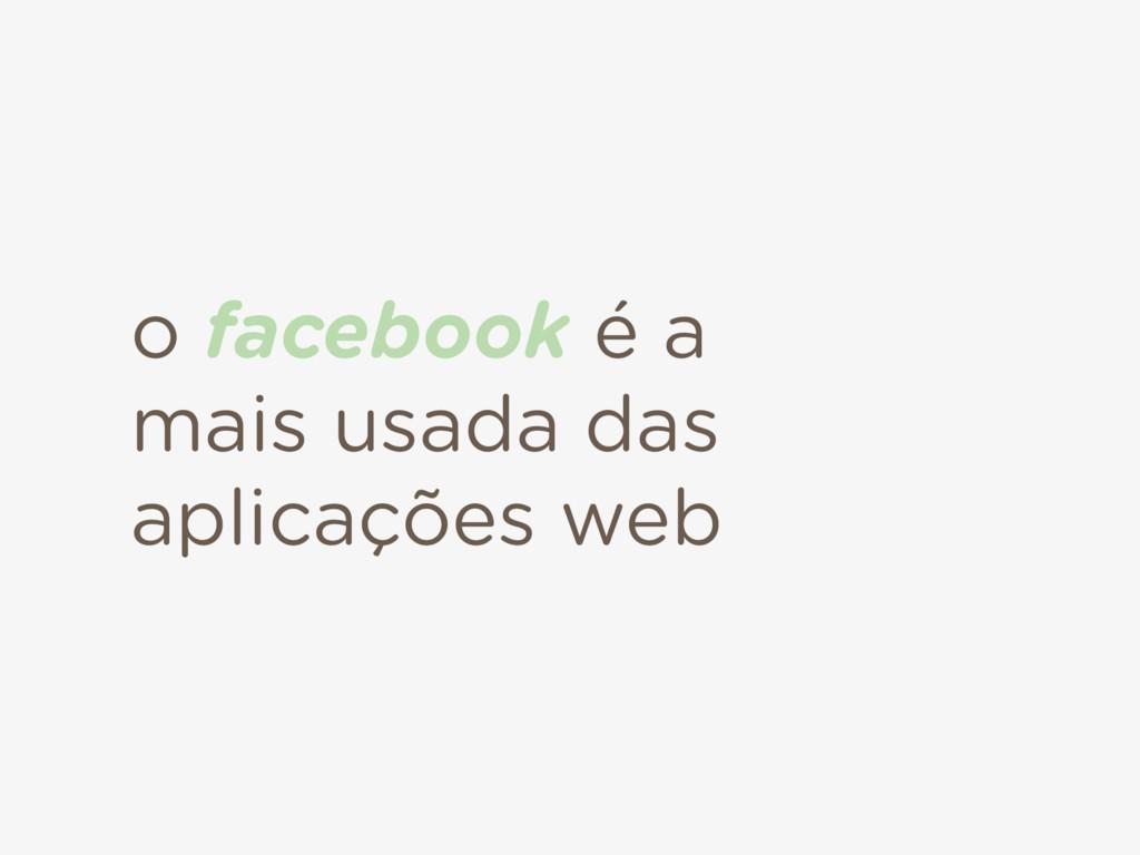 o facebook é a mais usada das aplicações web