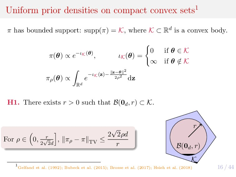 16 / 44 Uniform prior densities on compact conv...
