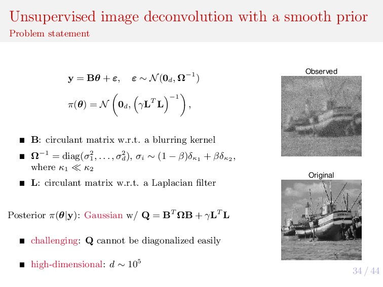 34 / 44 Unsupervised image deconvolution with a...