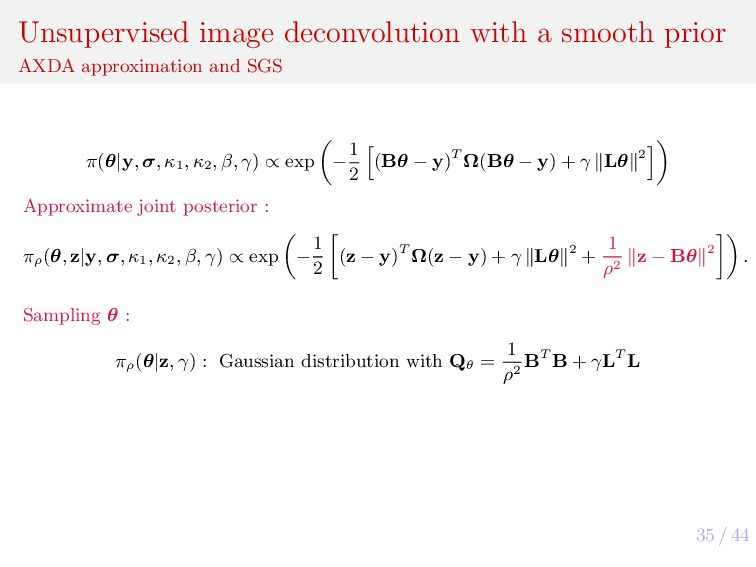 35 / 44 Unsupervised image deconvolution with a...