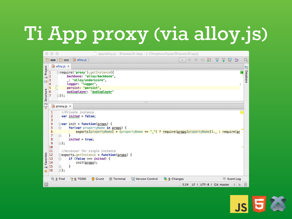 Ti App proxy (via alloy.js)
