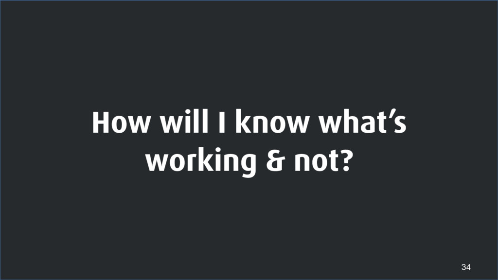 How will I know what's working & not? 34