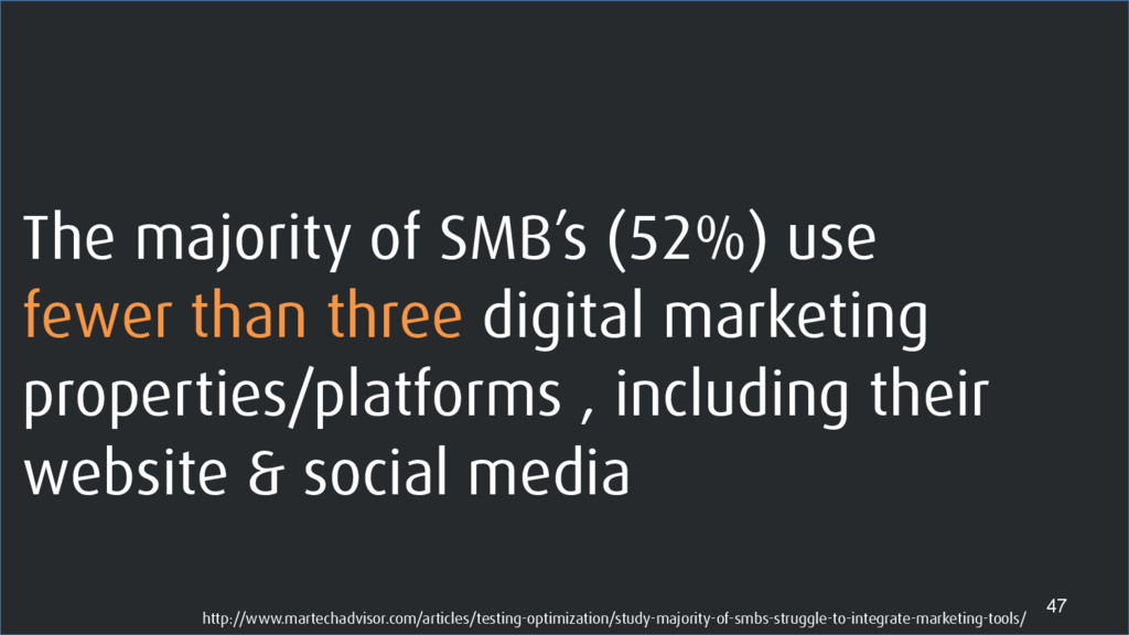 The majority of SMB's (52%) use fewer than thre...