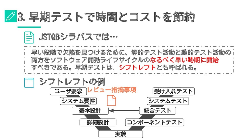 シフトレフトの例 ユーザ要求 システム要件 基本設計 詳細設計 受け入れテスト システムテスト...