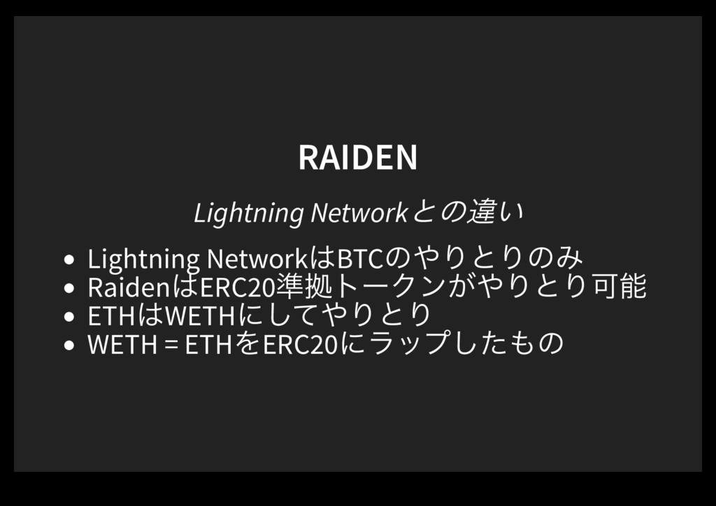RAIDEN Lightning Networkͱͷҧ͍ Lightning Network͸...