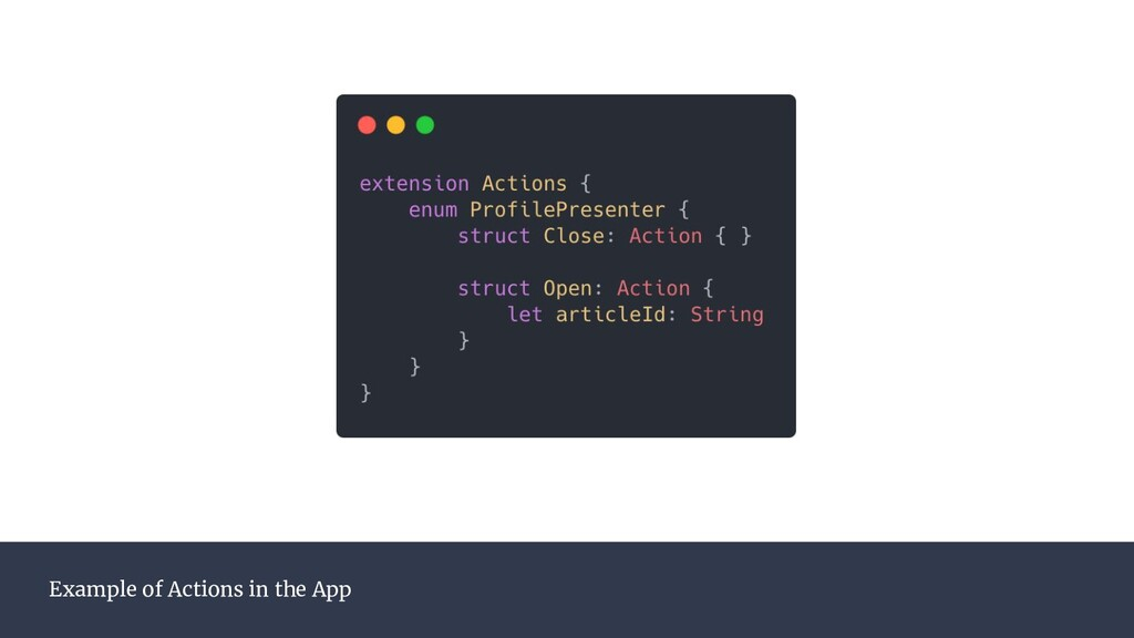 Example of Actions in the App