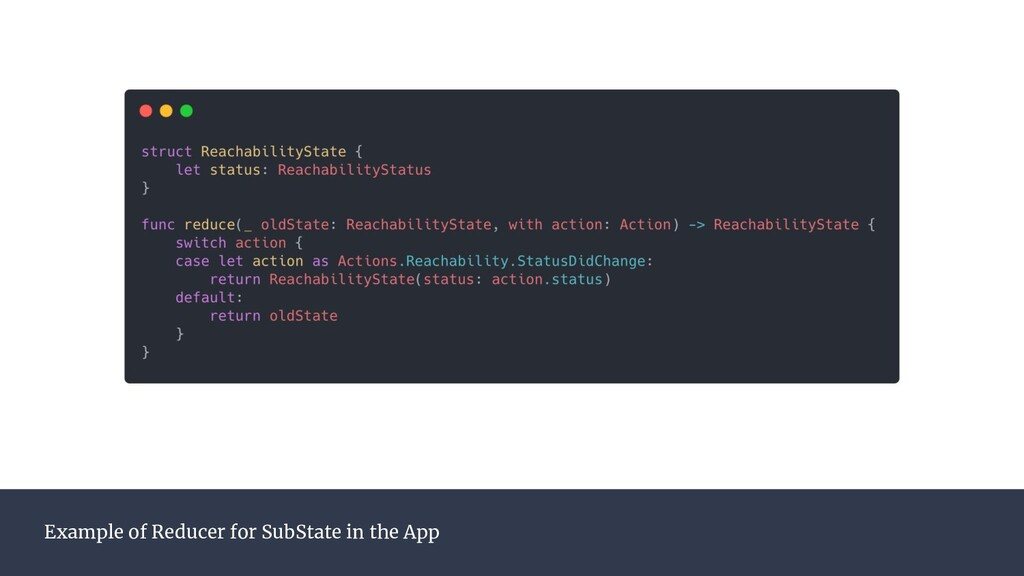Example of Reducer for SubState in the App