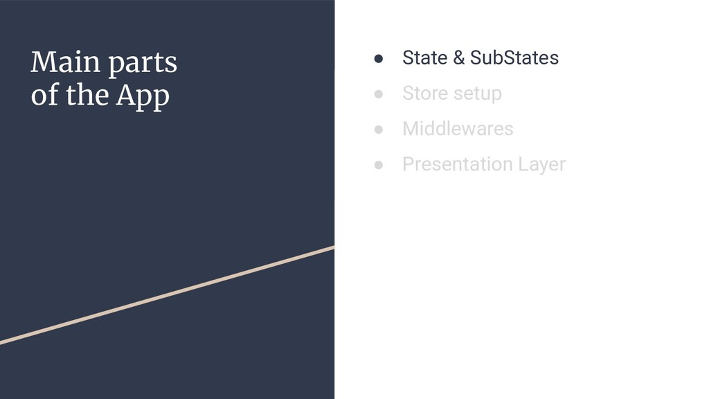 Main parts of the App ● State & SubStates ● Sto...