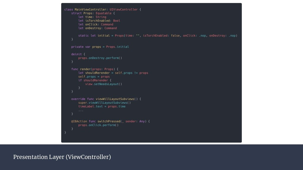 Presentation Layer (ViewController)