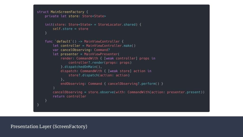 Presentation Layer (ScreenFactory)