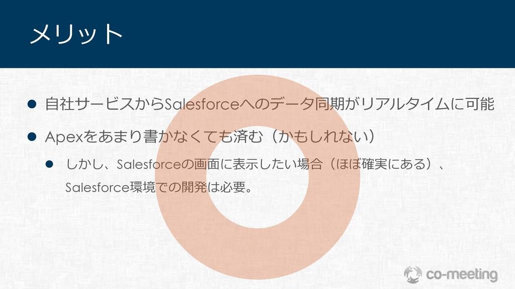 メリット l ⾃社サービスからSalesforceへのデータ同期がリアルタイムに可能 l Ap...