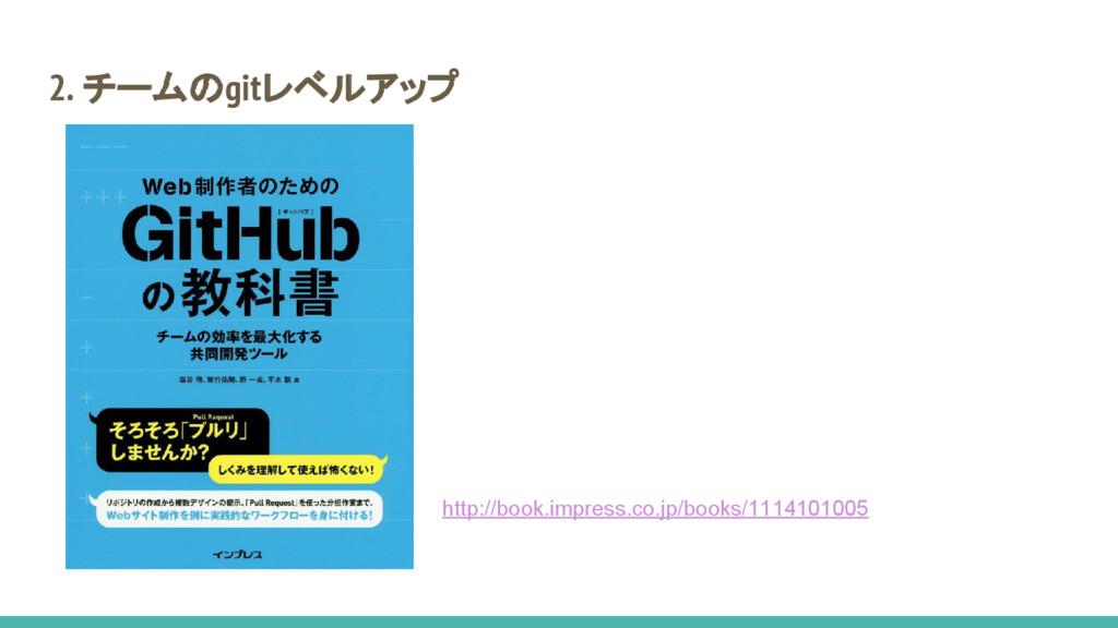 2. チームのgitレベルアップ http://book.impress.co.jp/book...