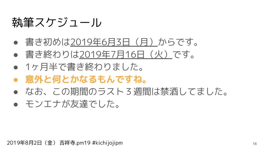 2019年8月2日(金) 吉祥寺.pm19 #kichijojipm 執筆スケジュール ● 書...