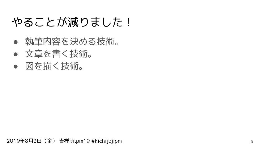 2019年8月2日(金) 吉祥寺.pm19 #kichijojipm やることが減りました! ...