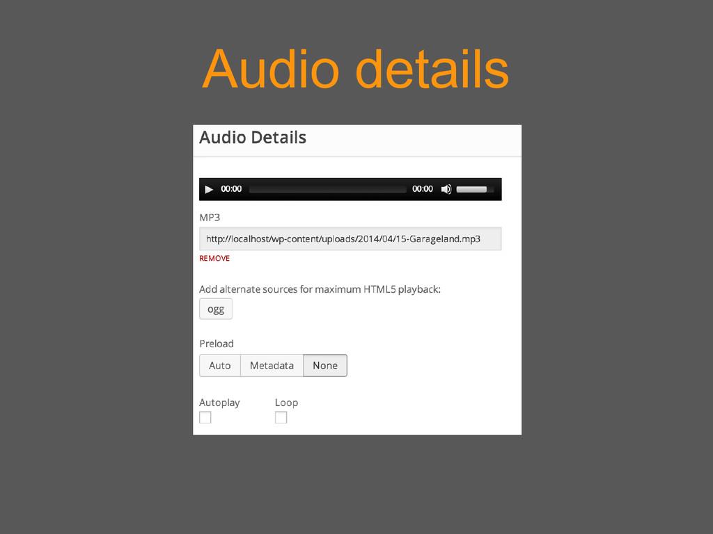 Audio details