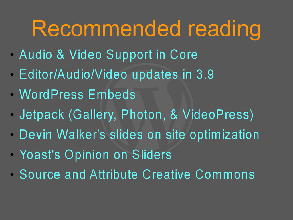 Recommended reading ● Audio & Video Support in ...