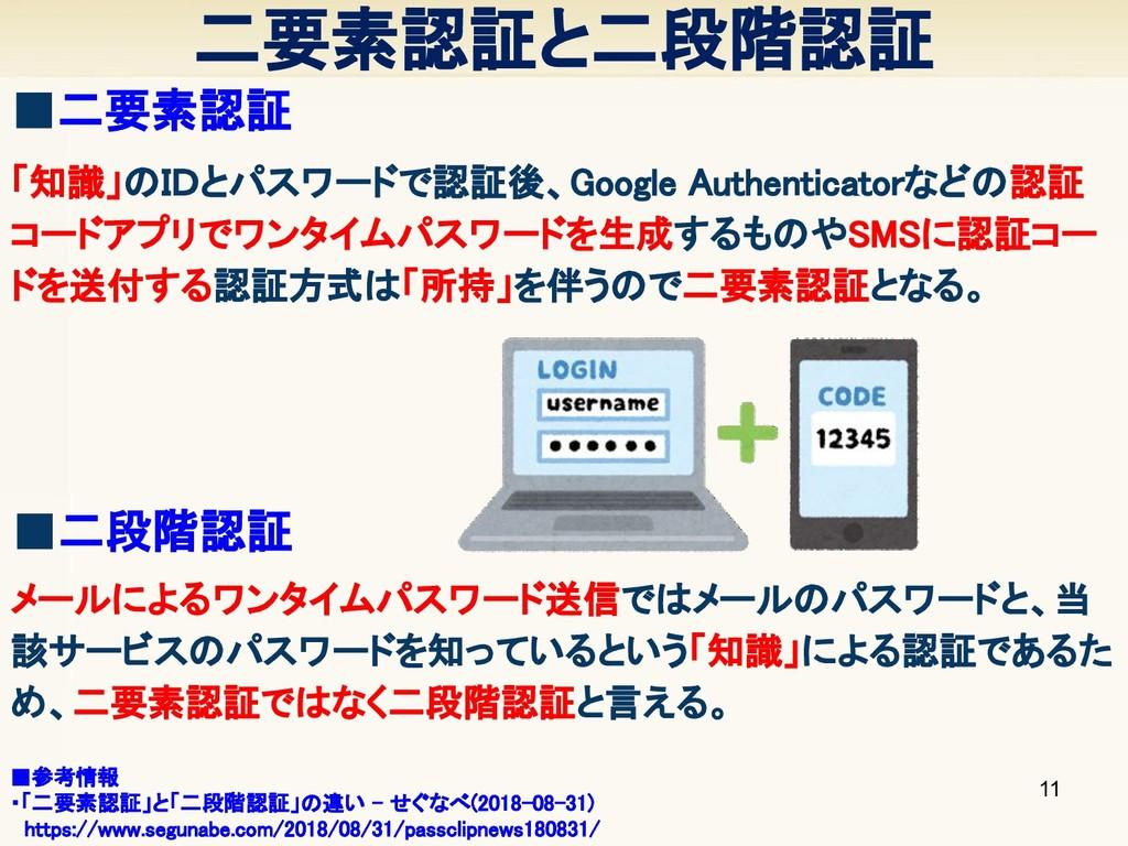 二要素認証と二段階認証 11 ■二要素認証 「知識」のIDとパスワードで認証後、Googl...