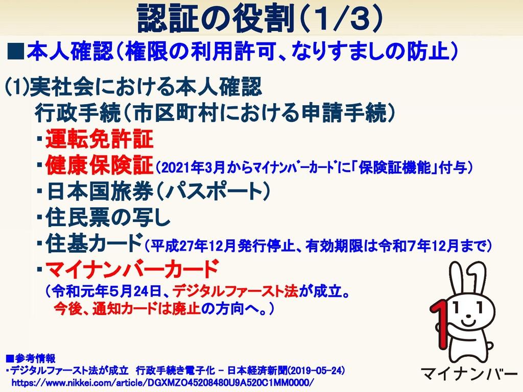 (1)実社会における本人確認   行政手続(市区町村における申請手続)   ・運転免許証...