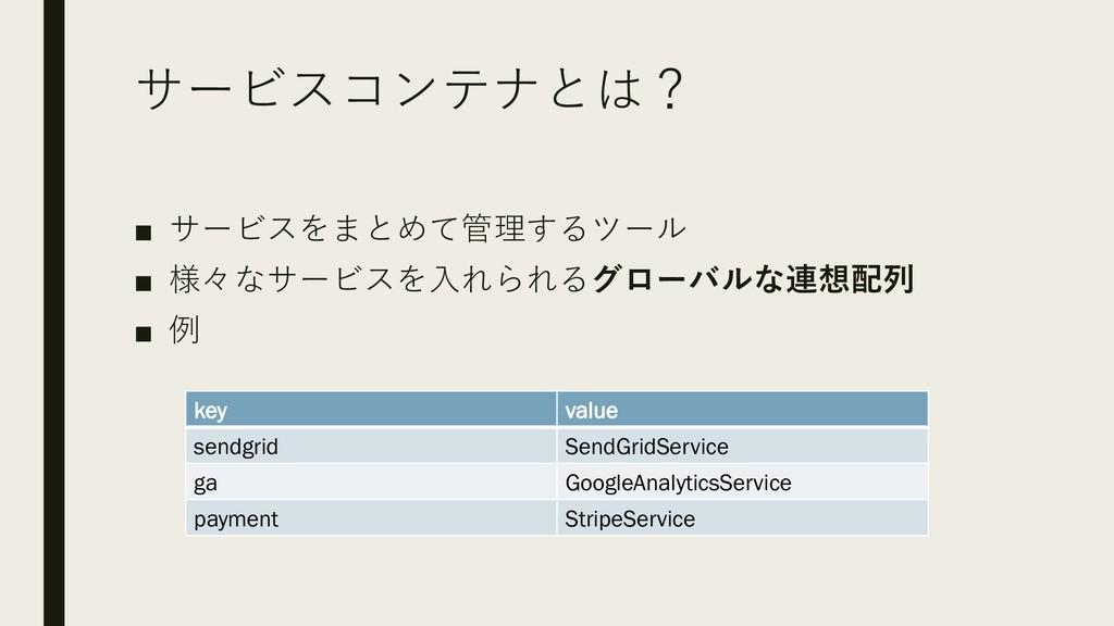 サービスコンテナとは? ■ サービスをまとめて管理するツール ■ 様々なサービスを入れられるグ...