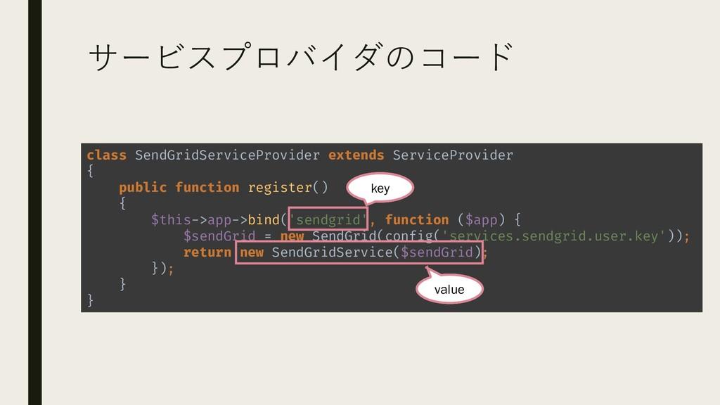 サービスプロバイダのコード class SendGridServiceProvider ext...
