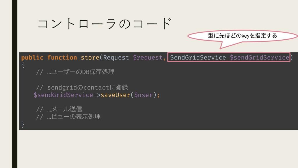 コントローラのコード public function store(Request $reque...