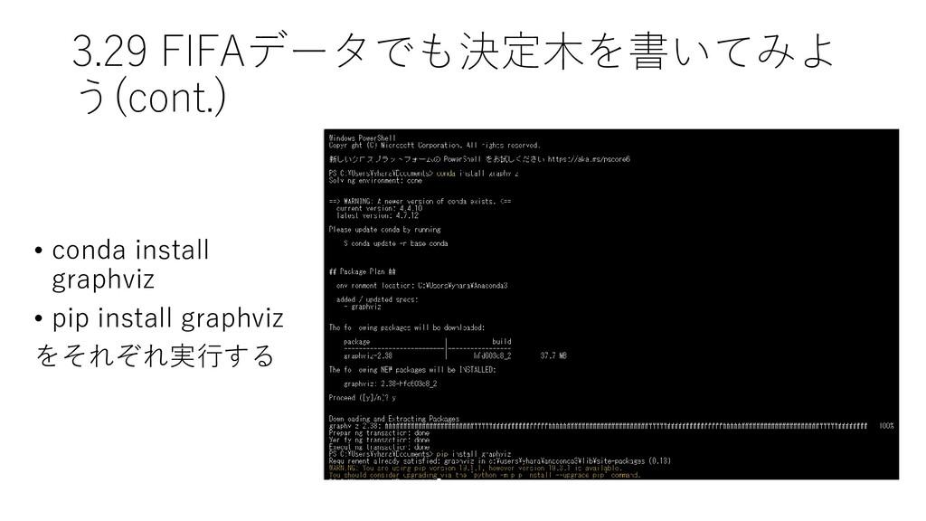 3.29 FIFAデータでも決定木を書いてみよ う(cont.) • conda instal...