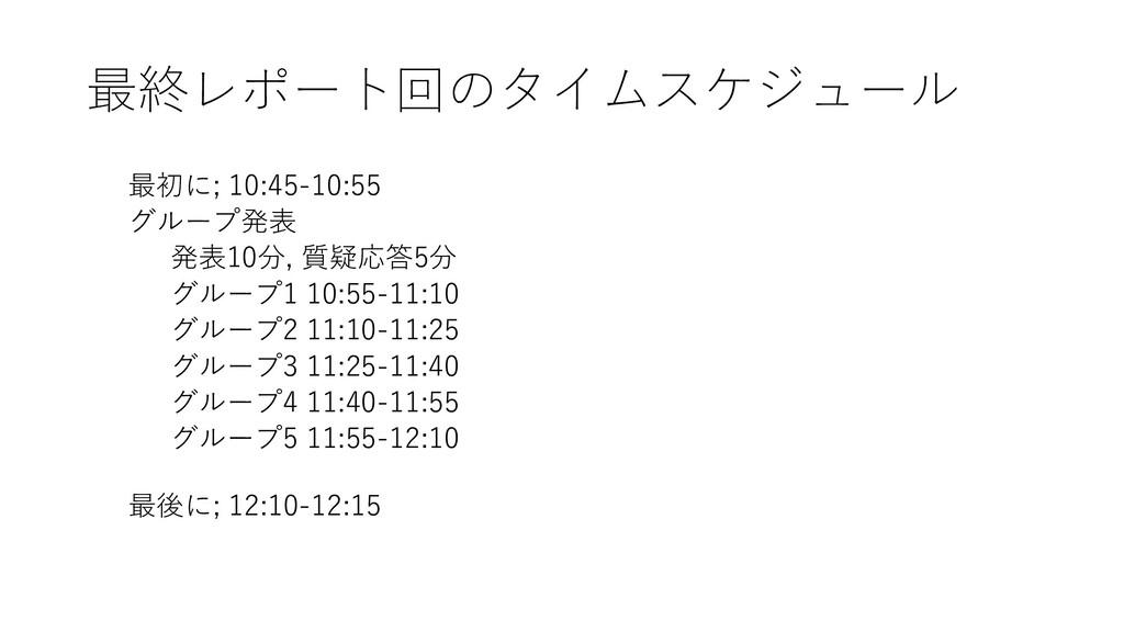 最終レポート回のタイムスケジュール 最初に; 10:45-10:55 グループ発表 発表10分...