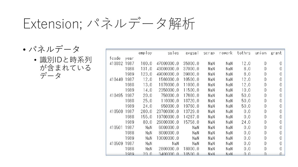 Extension; パネルデータ解析 • パネルデータ • 識別IDと時系列 が含まれている...