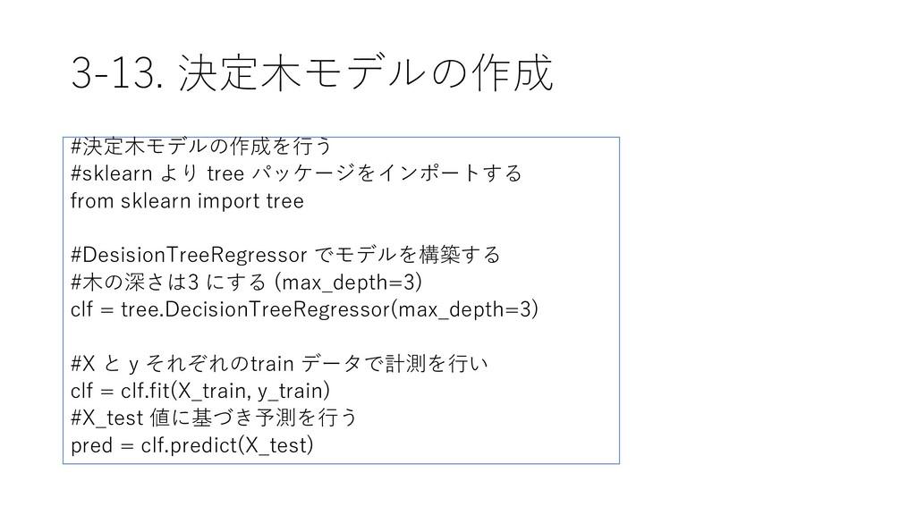 3-13. 決定木モデルの作成 #決定木モデルの作成を行う #sklearn より tree ...